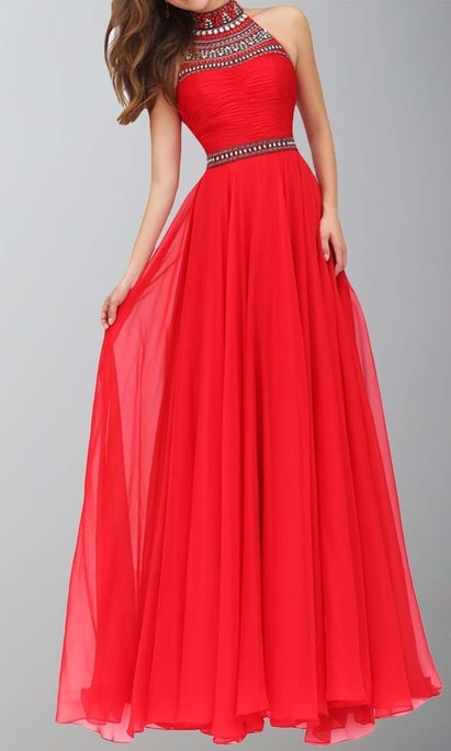 Long Red Prom Dresses with High Neck