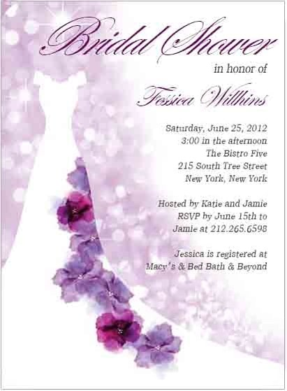 Purple Floral Wedding Dress Bridal Shower Invitation HPB116