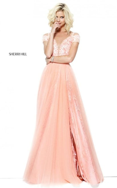 2017 Prom Floral Sherri Hill 50874 Embroidered Peach Slit Long Dress